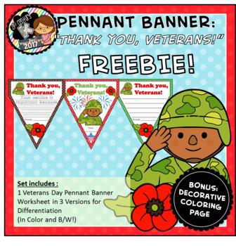 "FREEBIE ""Thank You, Veterans!"" Pennant Banner Worksheet"