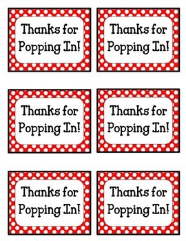 photo about Thanks for Popping by Free Printable identified as FREEBIE Because of for Popping Within Tags!! Crimson and White