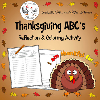 FREEBIE - Thanksgiving ABC's Reflection and Coloring Activity, I Am Thankful For