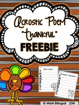 FREEBIE Thanksgiving Acrostic Poem
