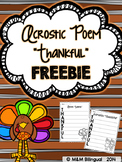 FREEBIE Thanksgiving Acrostic Poem
