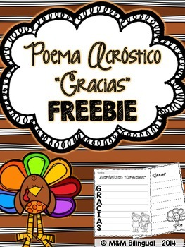 FREEBIE Thanksgiving Acrostic Poem {Spanish}
