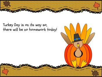 FREEBIE-Thanksgiving Homework Pass / No Homework Letter Editable Form