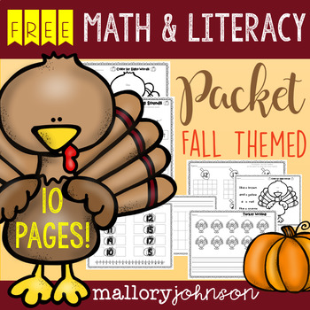 FREEBIE Fall Themed Math and Literacy Packet