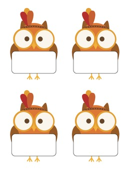 FREEBIE-Thanksgiving Owl Desk Name Tags