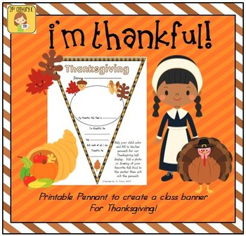 "FREEBIE ""Thanksgiving"" Pennant Banner Worksheet"