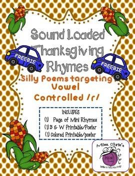FREEBIE Thanksgiving Sound Loaded Rhyme/Poem Vocalic ~r~