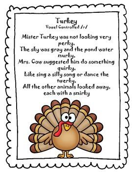 Freebie Thanksgiving Sound Loaded Rhyme Poem Vocalic R Tpt