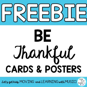 """FREEBIE: Thanksgiving """"Thankful"""" Cards and Posters with Writing Activity"""