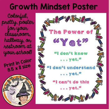FREE The Power of Yet Motivational Back to School Poster Growth Mindset