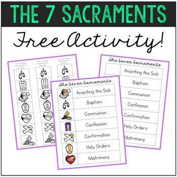 The Seven Sacraments Matching Activity And Poster Set