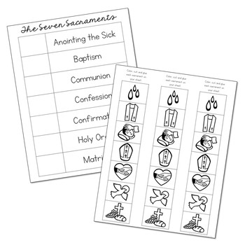 FREEBIE! The Seven Sacraments Matching Activity and Poster Set