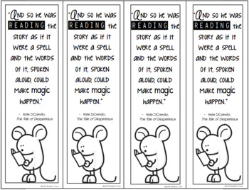 FREEBIE! Book Quote Bookmark - The Tale of Despereaux - Color and Black & White