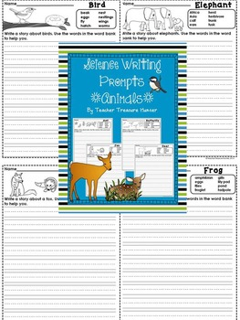 Science Writing Prompts ~ ANIMALS * Writing pages with wordbanks