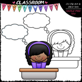 FREEBIE Thought Bubble Student Clip Art - Thinking Kid