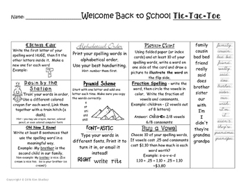 FREEBIE - Tic Tac Toe Back to School Spelling