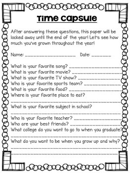 Zany image in time capsule printable worksheets