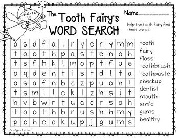 FREEBIE--Tooth Fairy Word Search
