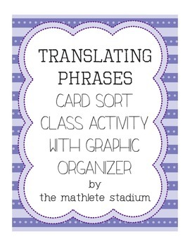 FREEBIE: Translating Verbal Phrases Class Card Sort with G
