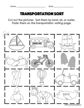 freebie transportation cut and paste activity by a teachable heart. Black Bedroom Furniture Sets. Home Design Ideas