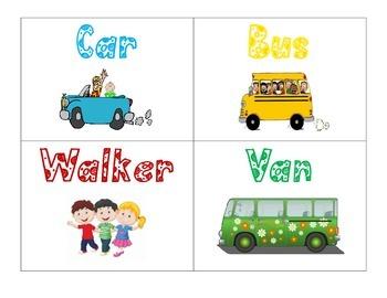 FREEBIE Transportation Pocket Chart Cards