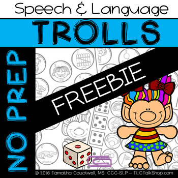 FREEBIE: Trolls No Prep Speech and Language by TLC Talk Shop