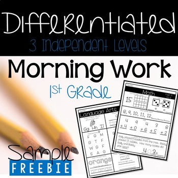 FREEBIE-Try it before you buy it! Differentiated Morning Work- 3 Levels