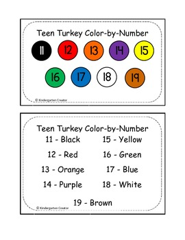 FREEBIE! Turkey Color-by-Teen Number