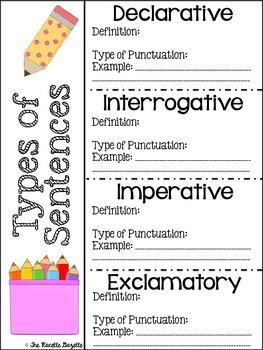 FREEBIE: Types of Sentences Definition Sheet