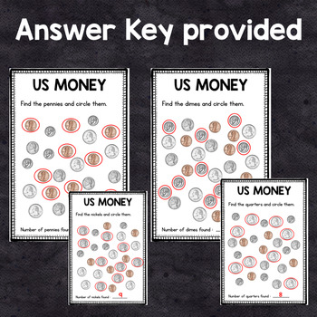 FREEBIE - US Money - Coin Identification : penny - nickel - dime - quarter