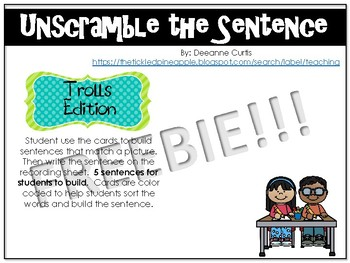 FREEBIE!!!! Unscramble the Sentence-Troll Edition