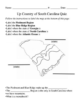 FREEBIE - Up Country of South Carolina Regions Quiz with Answer Key