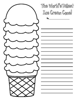 FREEBIE! Upper Elementary Creative Writing Prompt World's Tallest Ice Cream Cone