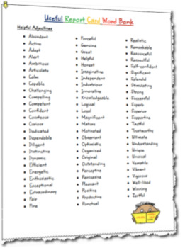 FREEBIE Useful Report Card Word Bank