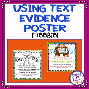 FREEBIE! Using Text Evidence Poster