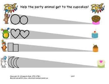 FREEBIE. VISUAL MOTOR FINE MOTOR. Party animals eating cupcakes!