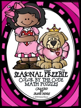 FREEBIE Valentine Seasonal Math Printables Color By The Code Puzzles