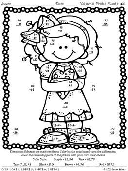 FREEBIE Valentine Seasonal Math Printables Color By The ...