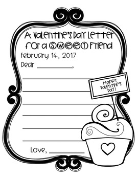 "FREEBIE! Valentine's Day Letters ""For a Sweet Friend"" - Write & Color"