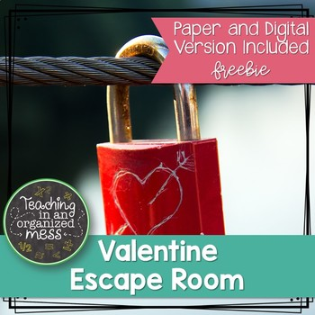 FREEBIE Valentine's Day One-Step Equation Escape Room--Digital and Paper Version