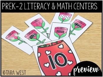 FREEBIE Valentine's Day PreK, K, 1st and 2nd Grade ELA & Math Centers Preview