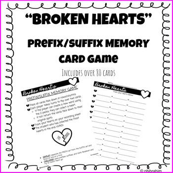 FREEBIE - Valentine's Day Prefix/Suffix Matching Game