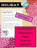 EDITABLE Valentine's Day party letter to parents February activity 2022