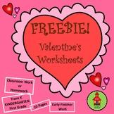 FREEBIE! Valentine's Worksheets FREEBIE!