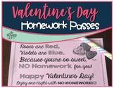 FREEBIE-Valentine's Day No Homework Passes