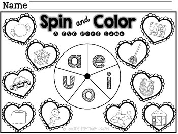 **FREEBIE** Valentine's Day Spin and Color CVC Words