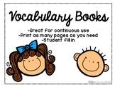 FREEBIE Vocabulary Book Printables