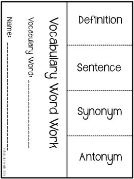 FREEBIE Vocabulary Word Work Literacy Foldable