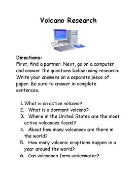 FREEBIE Volcano Internet Research Activity Writing