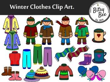 freebie winter clothes clip art by bitsybee teachers pay teachers rh teacherspayteachers com winter clothing clipart black and white winter clothing clipart black and white